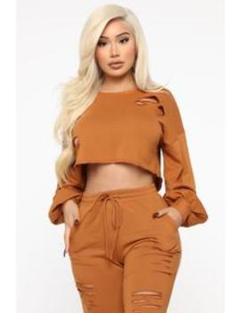 Casual Lover Distressed Pullover   Cognac by Fashion Nova