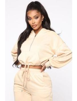 Lounge Wherever I Want Hoodie   Taupe by Fashion Nova
