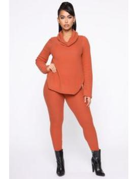 Cowler Than You Pant Set   Rust by Fashion Nova