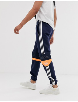 Adidas Originals Joggers With Band Details In Navy by Adidas Originals