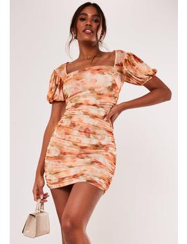 Peach Floral Mesh Puff Sleeve Mini Dress by Missguided