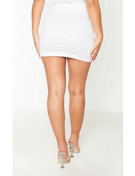 White Woven Bead Detail Mini Skirt  by Prettylittlething