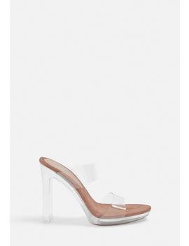 Nude Double Strap Clear Heels by Missguided
