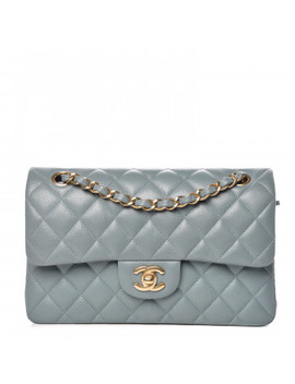 Chanel Iridescent Caviar Quilted Small Double Flap Light Blue by Chanel