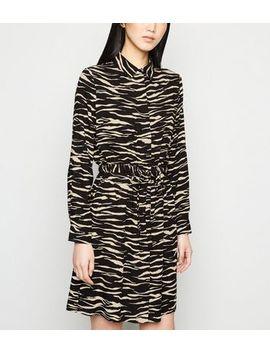 Black Zebra Print Drawstring Waist Shirt Dress by New Look