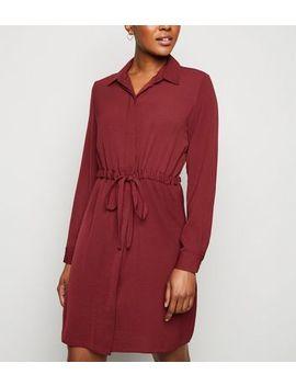 Burgundy Drawstring Waist Shirt Dress by New Look