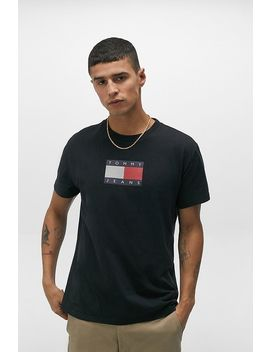 Tommy Jeans Black Metallic Flag T Shirt by Tommy Jeans