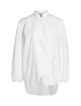 Oversized Cotton Poplin Wrap Shirt by Ganni