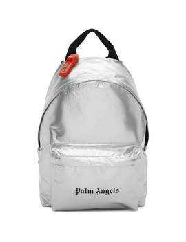 Silver Logo Backpack by Palm Angels