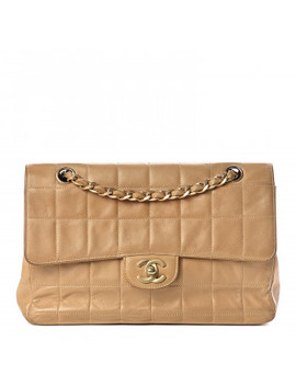 Chanel Lambskin Quilted Medium Chocolate Bar Flap Beige by Chanel