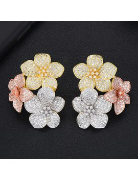 Godki 39mm Trendy Luxury 3 Tone Flower Cluster Stud Earrings For Women Wedding Cubic Zirconia Crystal Dubai Bridal Earrings 2019 by Ali Express.Com