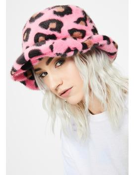 Pink Fluffy Leopard Bucket Hat by Glitter Disco Child