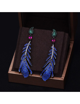 Godki Brand New Fashion Luxury Feather Cubic Zirconia Pave Silver Needle Wedding Dangle Earring For Women 7.1 Cm*1.8 Cm by Ali Express.Com