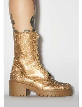 Gold Freak Galore Ankle Boots by Dolls Kill