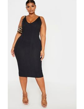 Plus Black Strappy Bandage Rib Midi Dress  by Prettylittlething