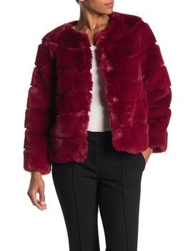Collarless Faux Fur Jacket by Michael Michael Kors