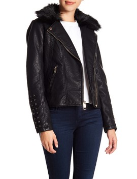 Faux Fur & Leather Moto Jacket by Guess