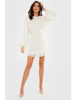 Lorna Luxe Premium 'emily' White Sequin Balloon Sleeve Tie Waist Mini Dress by In The Style