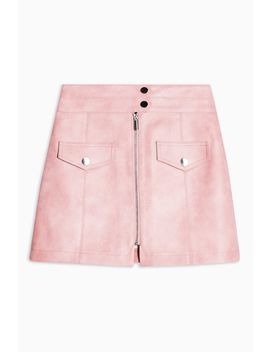 Petite Pink Zip Through Pu Mini Skirt by Topshop