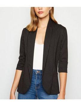 Mela Black Pinstripe Blazer by New Look