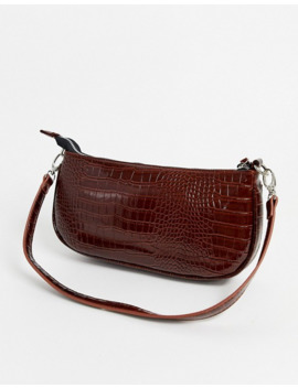 My Accessories London 90s Shoulder Bag In Brown Patent Croc Effect by My Accessories