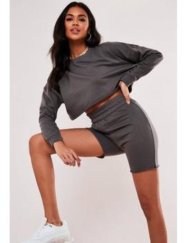 Grey Raw Edge Top And Cycling Shorts Co Ord Set by Missguided