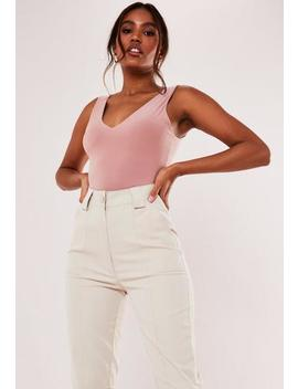 Recycled Nude Basic Slinky Plunge Cami Top by Missguided