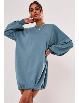 Blue Toggle Hem Oversized Sweater Dress by Missguided
