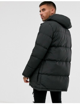 Brave Soul Padded Parka In Black by Asos