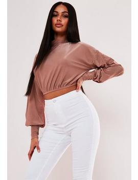 Blush Shimmer Puff Sleeve High Neck Crop Top by Missguided