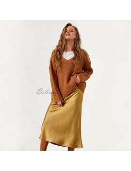 Silk Midi Slip Skirt Yellow Silk Slip Long Fall Trends Looks Fashion Ideas Midi A Line Skirt Bottoms Real Pure Mulberry Gift For Her 90s by Etsy