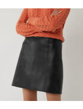 Seamed Faux Leather Mini Skirt by Warehouse
