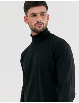 Brave Soul 100% Cotton Jersey Roll Neck In Black by Asos