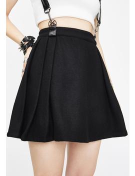 Woolen Lattice Pleated Half Skirt by Punk Rave