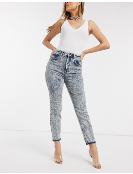 Asos Design Farleigh High Waisted Slim Mom Jeans In Extreme Indigo Acid Wash by Asos Design