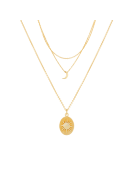Layered Moon Necklace + Sun Necklace by Mejuri