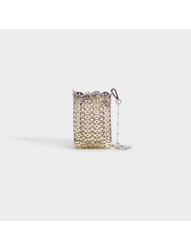 Mini 1969 Iconic Metallic Disc Bicolor Crossbody Bag In Silver And Light Gold Brass by Paco Rabanne