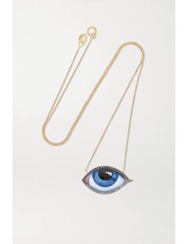 Tu Es Partout 14 Karat Gold, Enamel, Diamond And Sapphire Necklace by Lito
