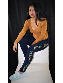 Womens Embroidered Leggings   Floral Leggings   Mexican Leggings   Hand Embroidered Leggings   Womens Leggings   One Size Fits Most Leggings by Etsy