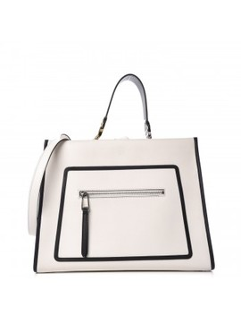Fendi Vitello Bicolor Regular Runaway Satchel Ice White Black by Fendi
