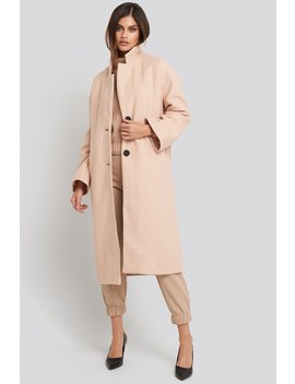 Big Button Long Coat Beige by Na Kd Trend