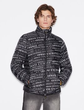 Jacket With All Over Lettering by Armani Exchange