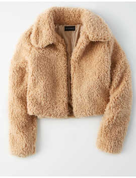 Ae Studio Fuzzy Sherpa Cropped Coat by American Eagle Outfitters