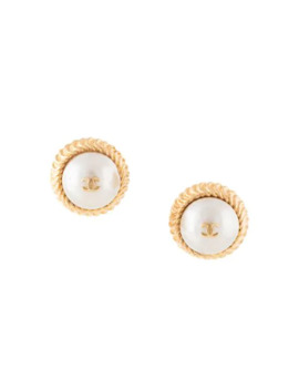 Faux Pearl Cc Clip On Earrings by Chanel Pre Owned