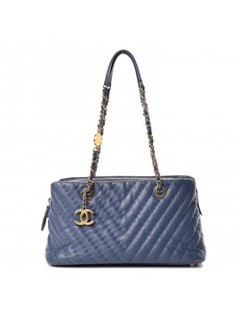 Chanel Calfskin Chevron Quilted Surpique Tote Blue by Chanel