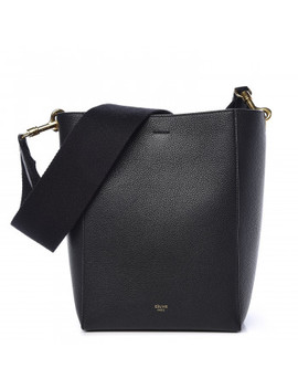 Celine Soft Grained Calfskin Small Sangle Bucket Bag Black by Celine