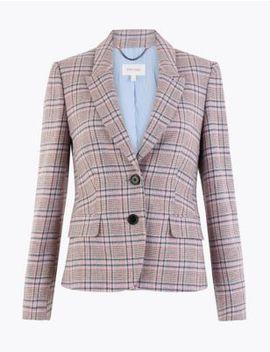 Cotton Blend Tweed Herringbone Blazer by Marks & Spencer