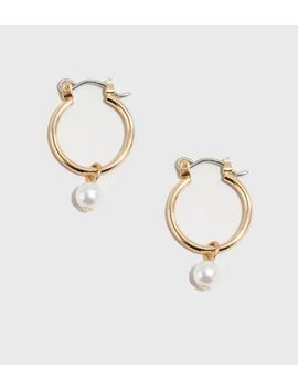 Gold Faux Pearl Mini Hoop Earrings by New Look