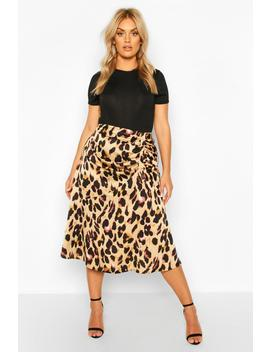 Plus Leopard Print Satin Ruched Asymmetric Skirt by Boohoo