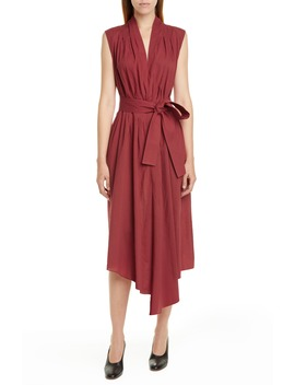 Belted Asymmetrical Voile Midi Dress by Adam Lippes